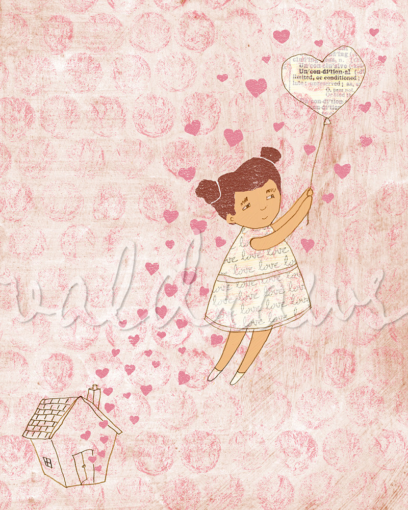 Girl being lifted up by unconditional love balloon Fly High 8 x 10 print