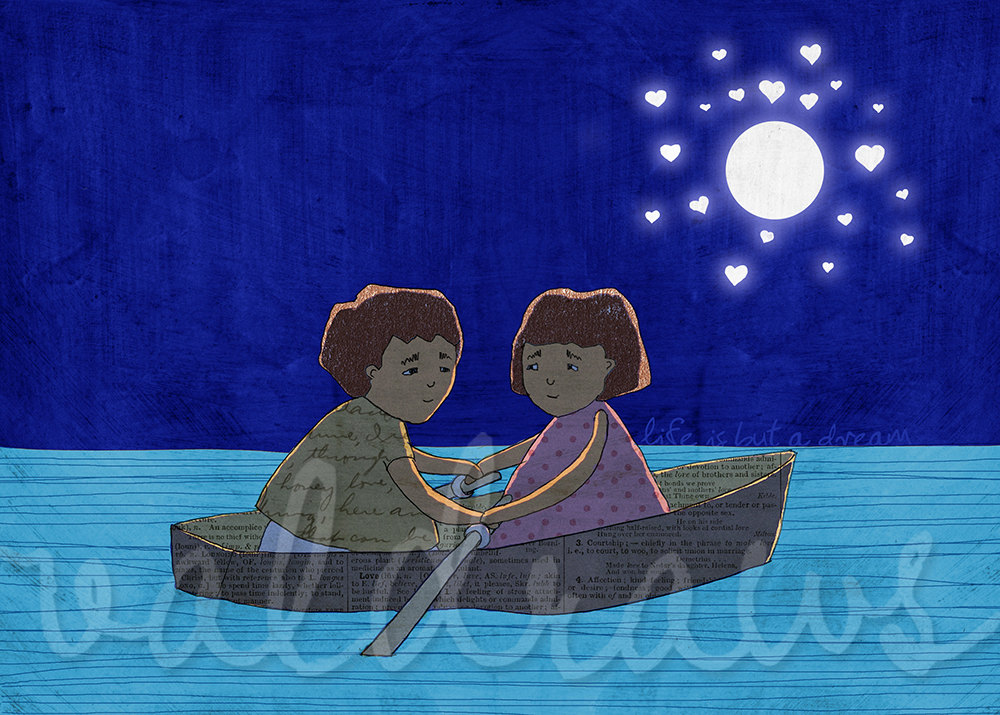 Couple art print Night art print Rowboat art print Moon and stars art print Midnight blue art print Life Is But A Dream 5 x 7 print