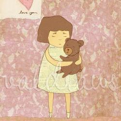 Girl hugging teddy bear art print Comfort 8 x 10 print