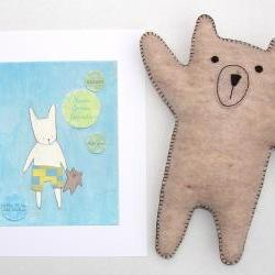 Personalized boy's nursery print with hand-stitched felt bear